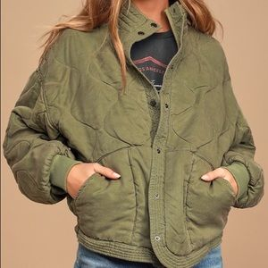 Blank NYC Roger Olive Green Quilted Jacket